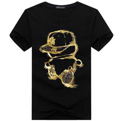 Summer  Plus Size New Mens Casual Cartoon Printing Short Sleeve Catton T-shirt