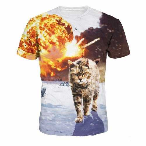 Mens New Summer 3D Cat Printing Casual Short Sleeves Sports T-shirt