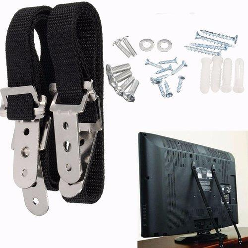 Black TV Safety Strap Furniture Straps Flat Screen TV Anchor for Child Safety