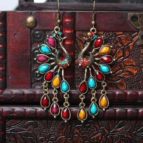 Ethnic Peacock Crystal Tassel Earrings