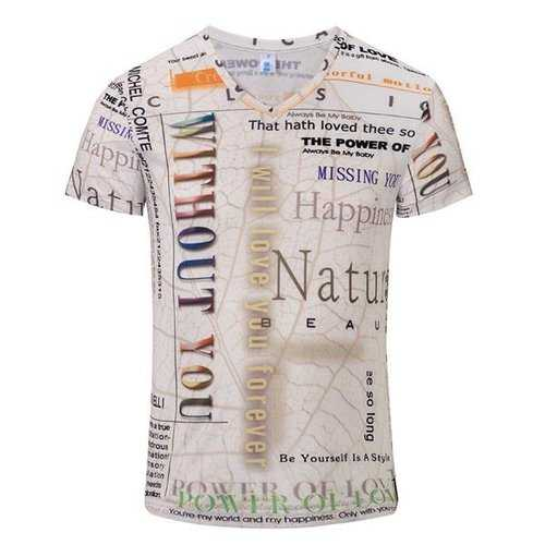 Summer Mens Breathable Personalized Letters Printing V neck Casual T-shirts