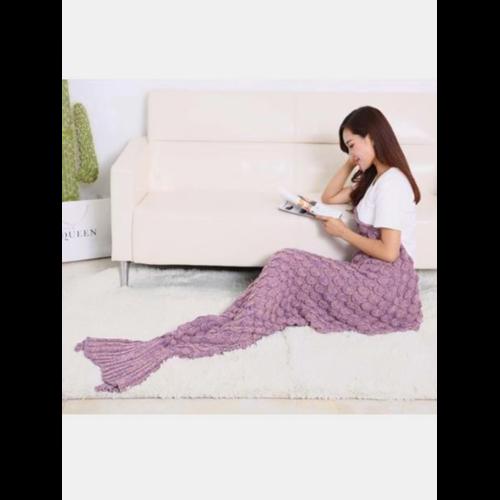 195x90cm Yarn Knitted Mermaid Tail Blanket Handmade Crochet Throw Super Soft Sofa Bed Mat