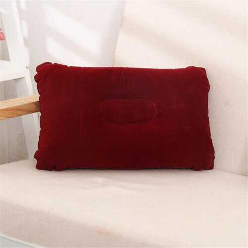 Folding Double Sided Inflatable Pillow Suede Fabric Cushion Camping Home Bedding Supplies