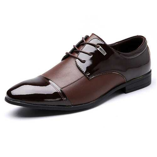 Big Size Men Color Match Ponited Toe Business Lace Up Flat Formal Shoes