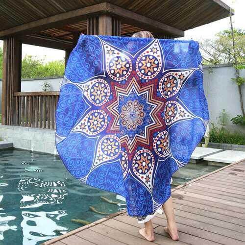 145cm Round Blue Fish Print Thin Chiffon Beach Yoga Towel Mandala Tablecloth Bed Sheet Tapestry