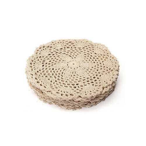 12pcs 20cm Vintage Beige Cotton Doilies Hand Crochet Coasters Lace Applique