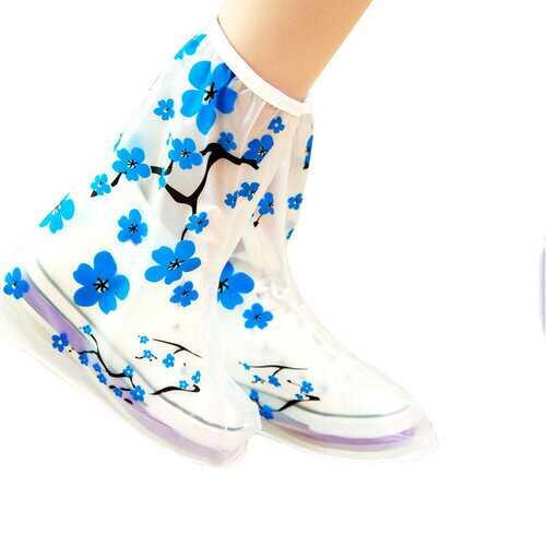 1Pair PVC Reusable Rain Shoes Cover Non-slip Boots Thicken Impermeable Overshoes