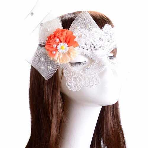 Sexy Mask White Lace Pearl Flower Masquerade Mask