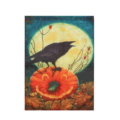 Cawwed Garden Flag Halloween Bats Full Moon Crows