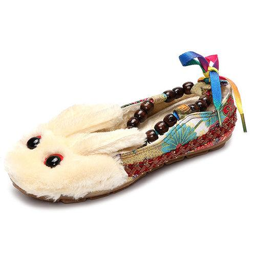 Big Size Colorful Bunny Rabit Cute Beaded Lace Up Vintage Canton Flat Shoes