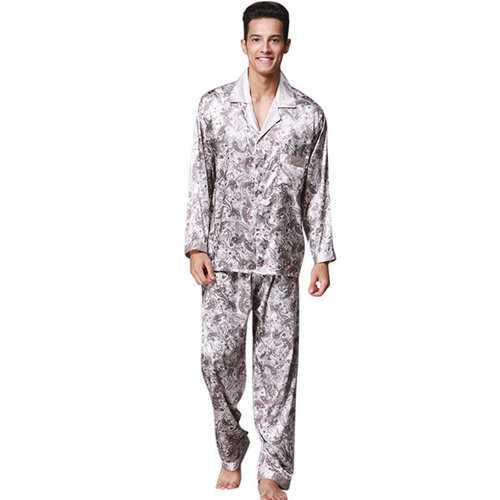 Silk-like Turn-Down Collar Pajamas