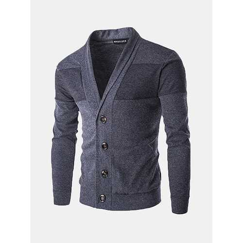 Mens Fall Winter Sweatershirt Single-breasted Casual Solid Color Knitting V-Neck Cardigan