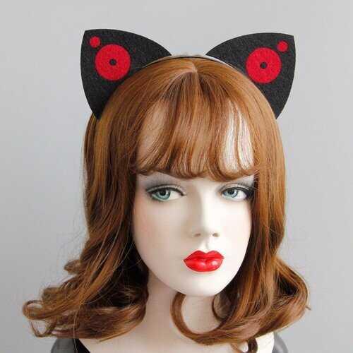 Cosplay Funny Headband Black Cotton Two Circle Ear Party Headband