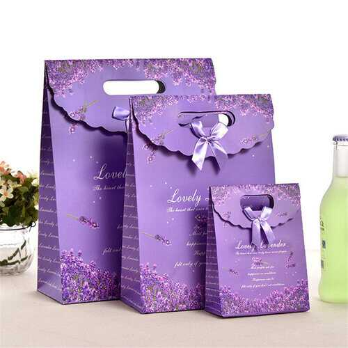 3Pcs Purple Kraft Paper Bags Gift Bag d Bread Candy Wedding Party Bags High Quality