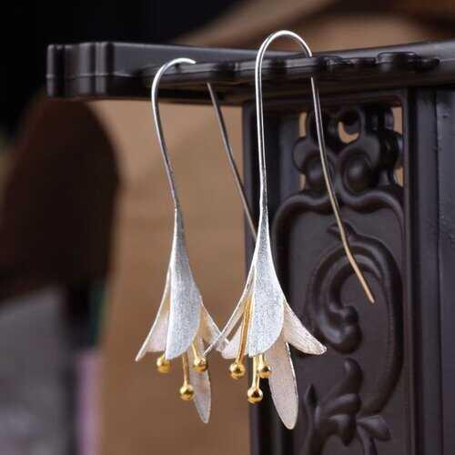 S925 Silver Magnolia Flower Earrings