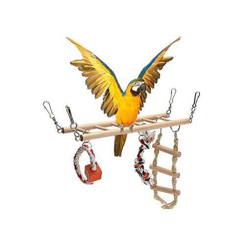 Wooden Pet Bird Parrot Parakeet Cockatiel Cage Hammock Swing Chew Hanging Toys