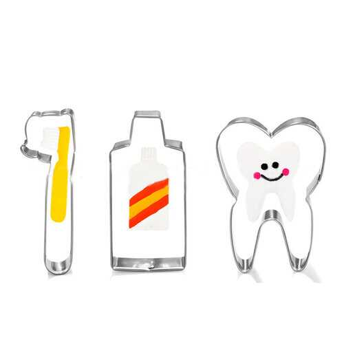 3Pcs Toothbrush Toothpaste Tooth Shaped Baking Tools Stainless Steel Cake Mold Biscuit Mold