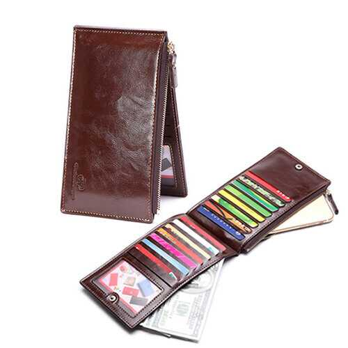 15 Card Slots Card Holder Wallet Long Zipper PU Leather Coin Purse For Men
