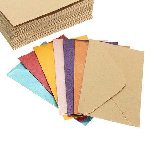 50pcs Vintage Small Colorful Blank Mini Paper Envelopes Wedding Invitation Envelope /Gilt Envelope