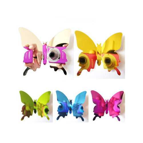 12PCS 5 Colors 3D Mirror Surface Butterfly Art Applique Fridge Magnet Wall Sticker