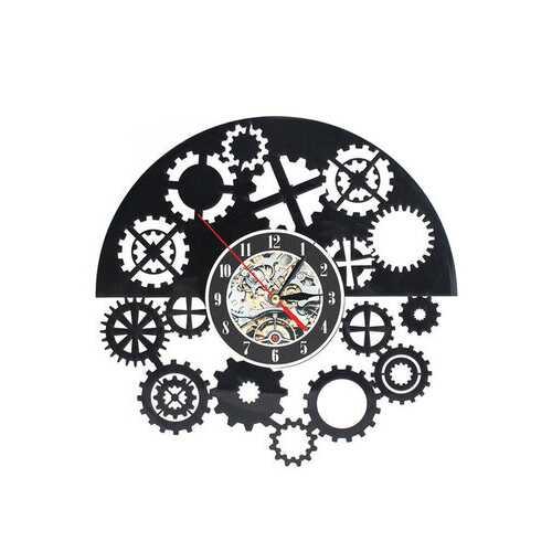 12 Inches Mechanism Neck Vinyl Wall Clock Decor Design Gift Nursery Vintage Home Black Timer