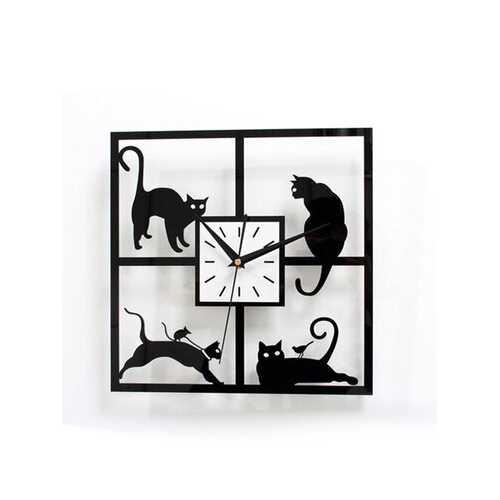 3D Acrylic Kawaii Black Cat Wall Clock Novelty Gift Quartz Home Decor Clock
