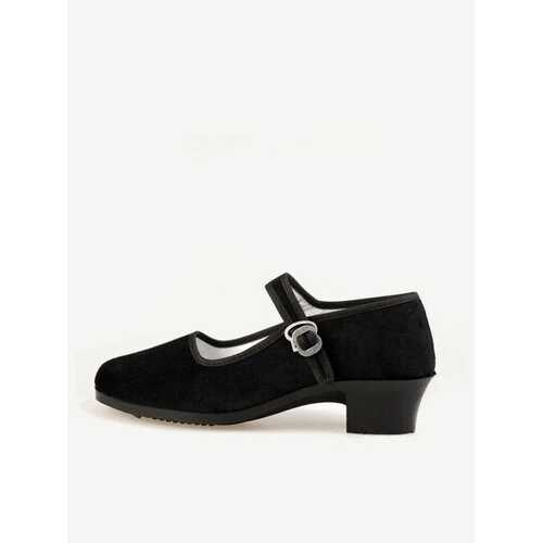 Black Square Heel Buckle Casual Strappy Mary Jane Shoes