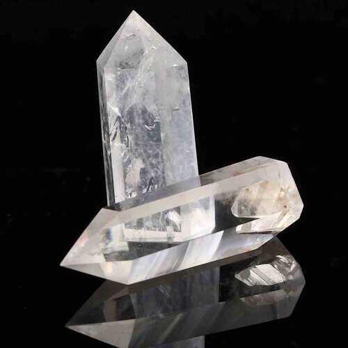 2pcs DIY Cryatl Natural Clear Quartz Crystal Wand Point Healing