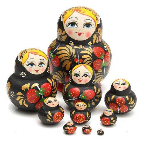 10Pcs Strawberry Russian Dolls