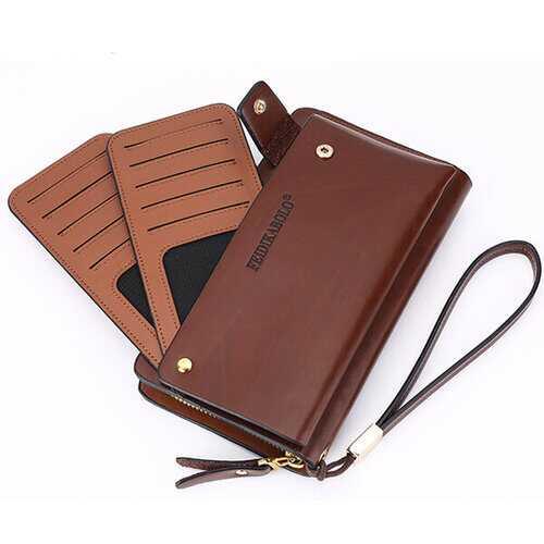 10 Card Slots Wallet Pu Clutch Card Holder Big Capacity Coin Bag Phone Bag For Men