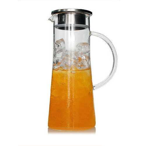 1800Ml Glass Kettle Heat Resistant Transparent Teapot Stainless Steel Strainer Juice Flower Teapot