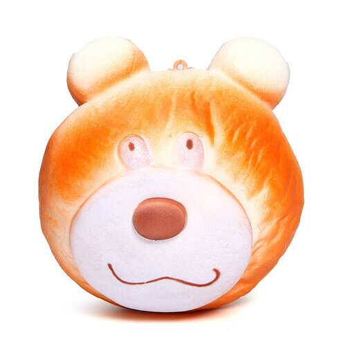 10CM Simulate Cute Funny Brown Bear Face Squishy Toy Stress Reliever Phone Chain