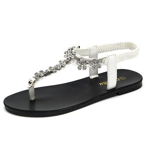 Beaded Clip Toe Crystal Flower Slip On Gladiator Sandals