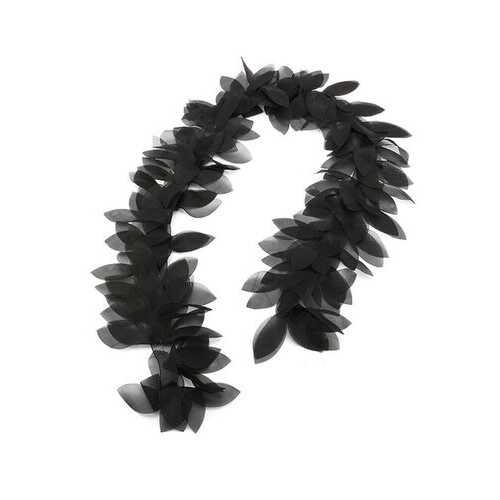 1 Yard Beautiful Handicrafts Black Chiffon Leaves Lace Trim Tulle Lace