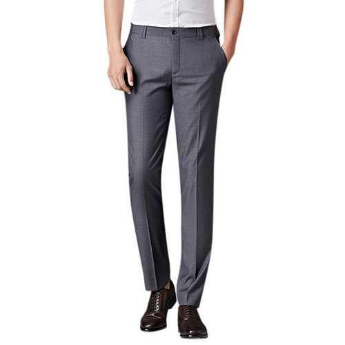 Mens Spring Summer Flat Front Dress Pants Straight Slim Fit Business Casaul Suit Pants