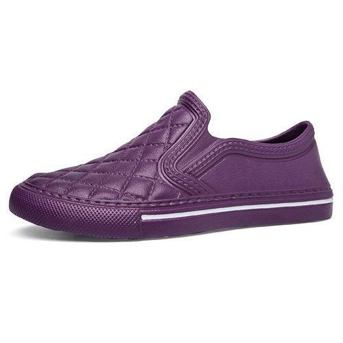 Big Size Plaid Soft Plastic Flat Slip On Casual Shoes