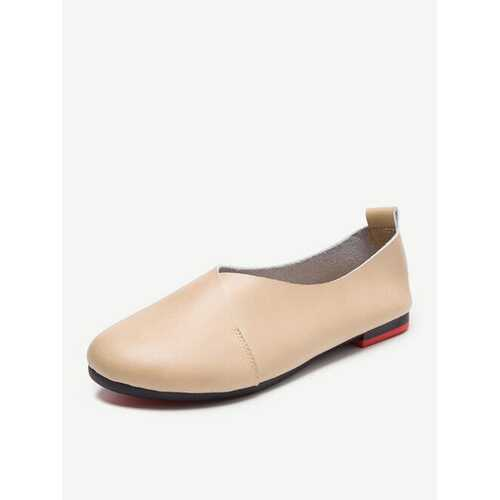 Big Size Leather Comfortable Slip On Lazy Casual Flat Shoes