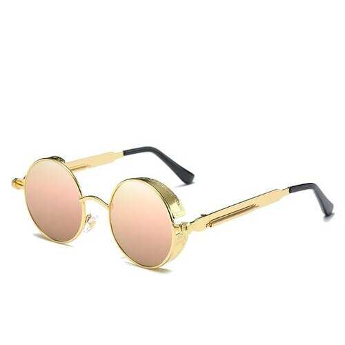 UV400 Vintage Steampunk Round Mirror Lens Sunglasses