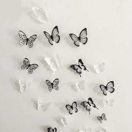 18Pcs 3D Black White Butterfly Wall Sticker