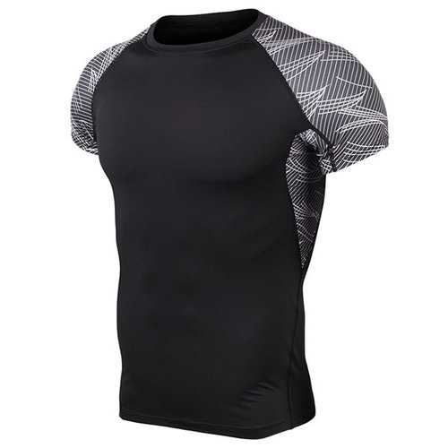 Mens Fitness Training Short Sleeve Skinny Tops Elastic Quick-drying Jogging Sport T-shirts