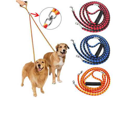3 Colors Double Leash For Two Dogs