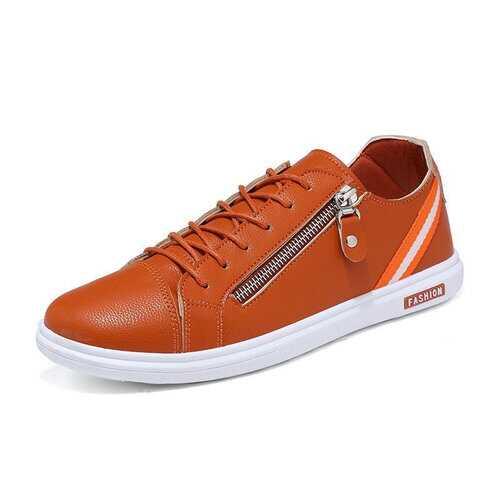 Men Metal Side Zipper Pure Color Skateboarding Shoes Flat Casual Trainers