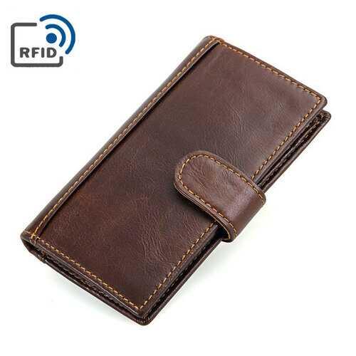 RFID Antimagnetic Genuine Leather Wallet 14 Card Slots Long Phone Bag For Men