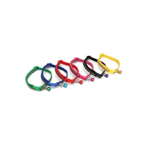 12Pcs Dog Collars Pet Cat Nylon Collar With Bell Necklace Buckle Random Color
