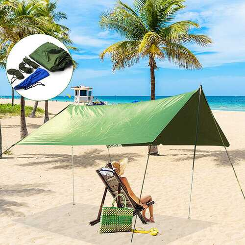 <US Instock>10x10ft Waterproof Sunshade Tent Tarp Rain Fly Awning Outdoor Camping Hammock