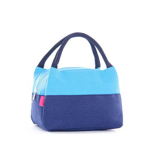 Canvas Insulation Lunchbox Bag Lunch Meal Bags For Picnic Outing Carry Tote Bag