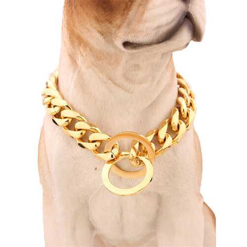 """13mm 12-30"""" Pet Collar Gold 316L Stainless Steel Dog Chain"""