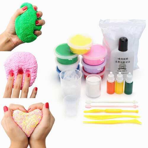 DIY Snow Mud Styrofoam Beads Balls White Floam Slime Kit Educational Toys Gift