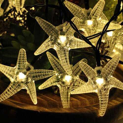 KCASA SSL-11 Gardening 6M 30LED Solar Panel String Light Starfish Holiday Party Wedding Decoration