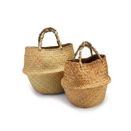 2Pcs Seagrass Flower Belly Basket Storage